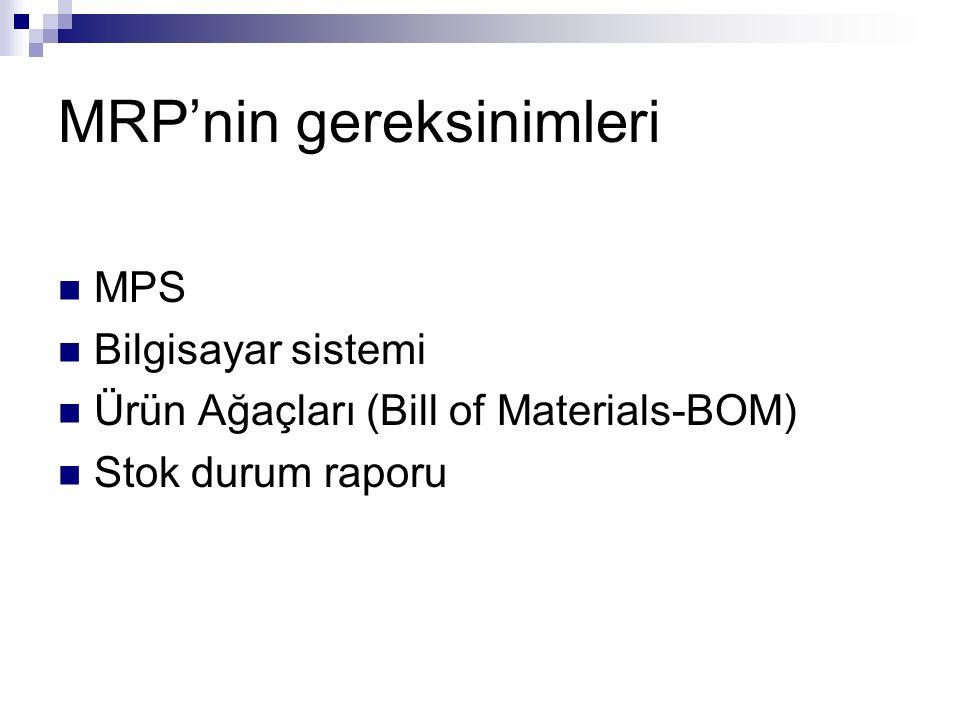 MRP'nin gereksinimleri