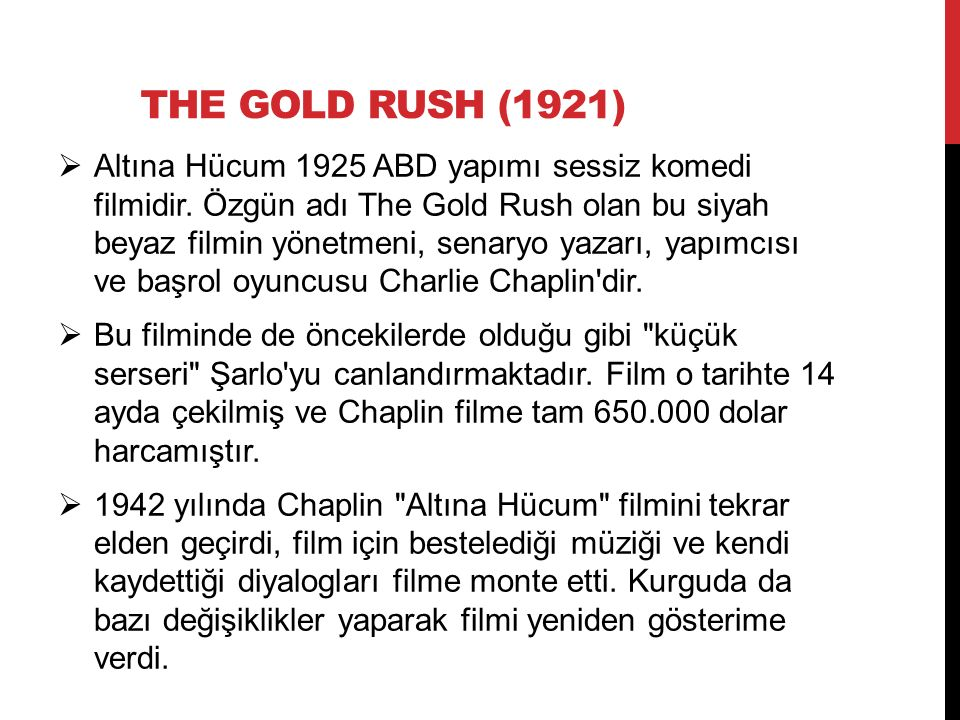 THE GOLD RUSH (1921)