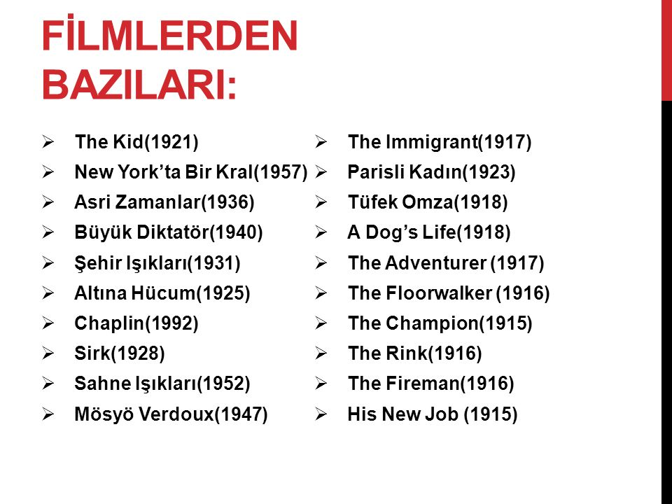FİLMLERDEN BAZILARI: The Kid(1921) The Immigrant(1917)