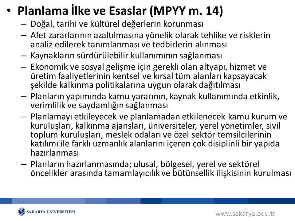 Planlama İlke ve Esaslar (MPYY m. 14)