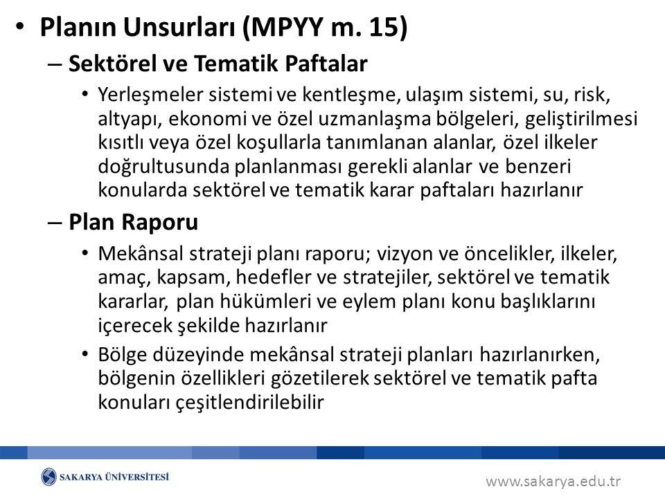Planın Unsurları (MPYY m. 15)