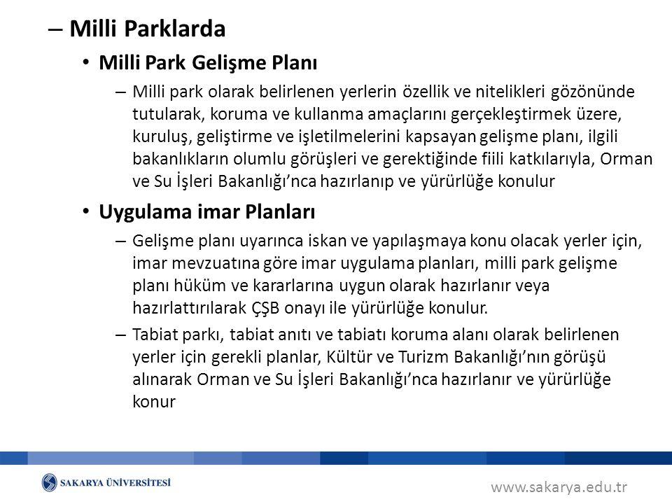 Milli Parklarda Milli Park Gelişme Planı Uygulama imar Planları
