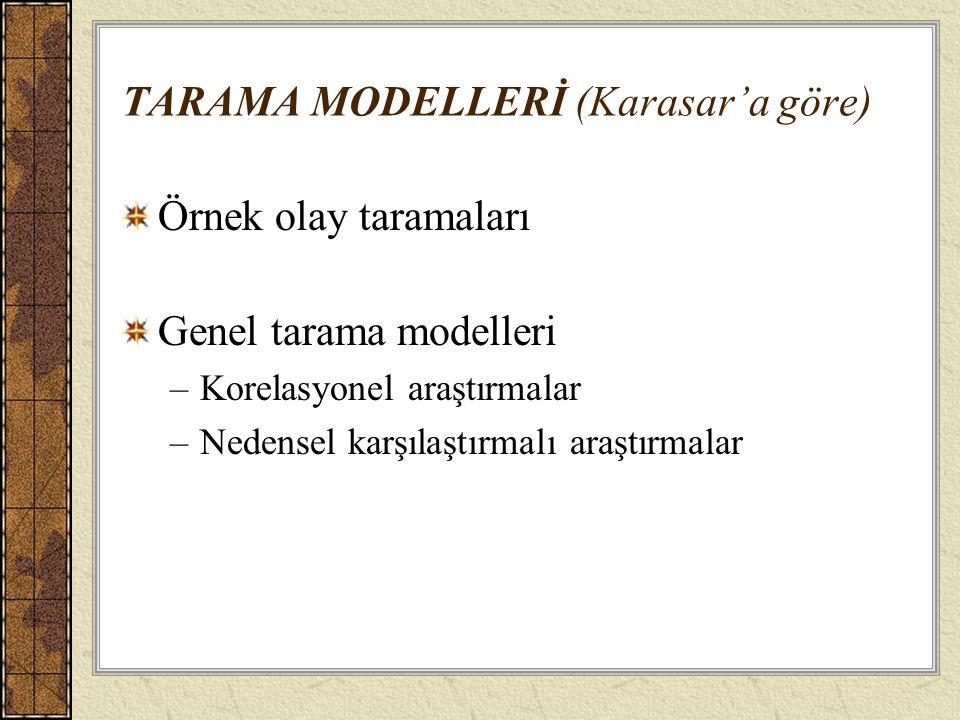 TARAMA MODELLERİ (Karasar'a göre)