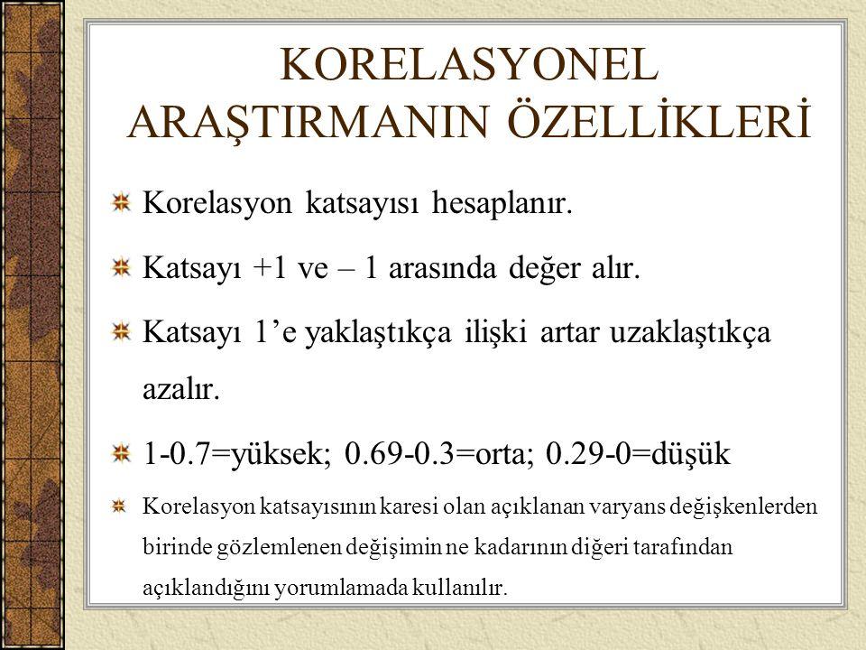 KORELASYONEL ARAŞTIRMANIN ÖZELLİKLERİ