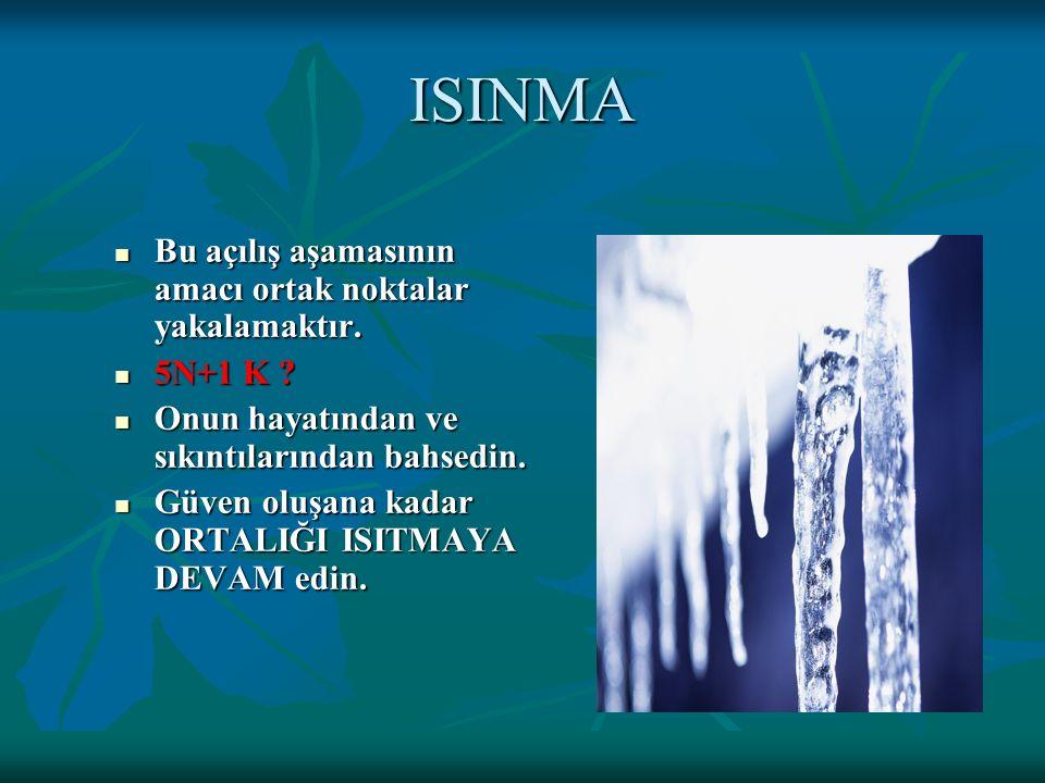 ISINMA Bu açılış aşamasının amacı ortak noktalar yakalamaktır.