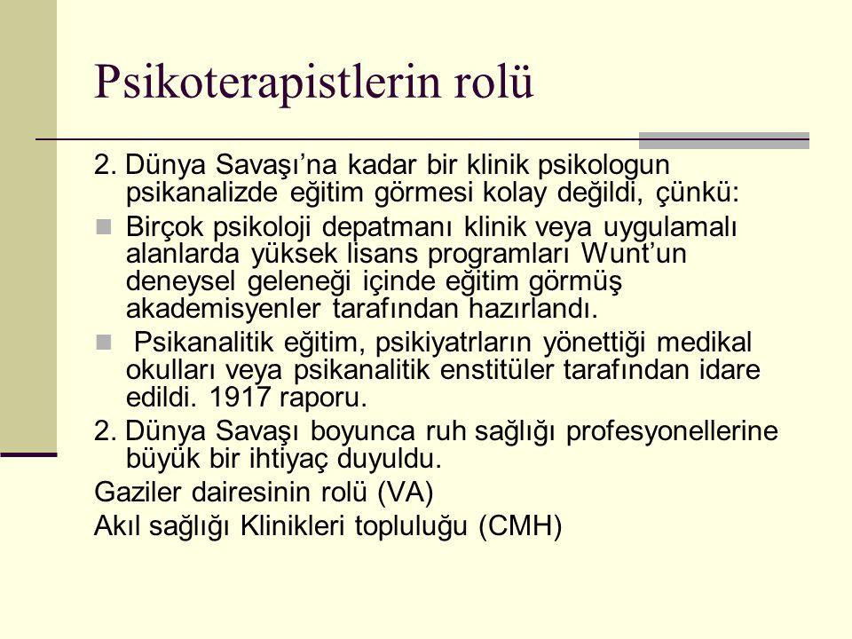 Psikoterapistlerin rolü