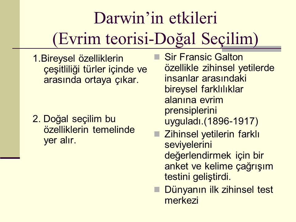Darwin'in etkileri (Evrim teorisi-Doğal Seçilim)