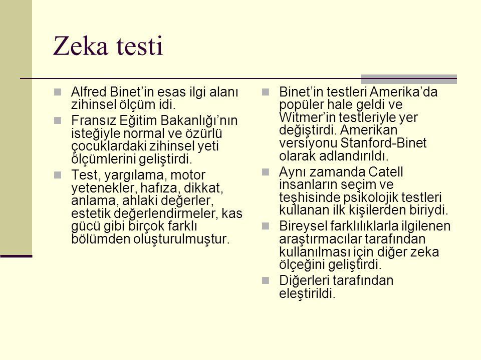 Zeka testi Alfred Binet'in esas ilgi alanı zihinsel ölçüm idi.