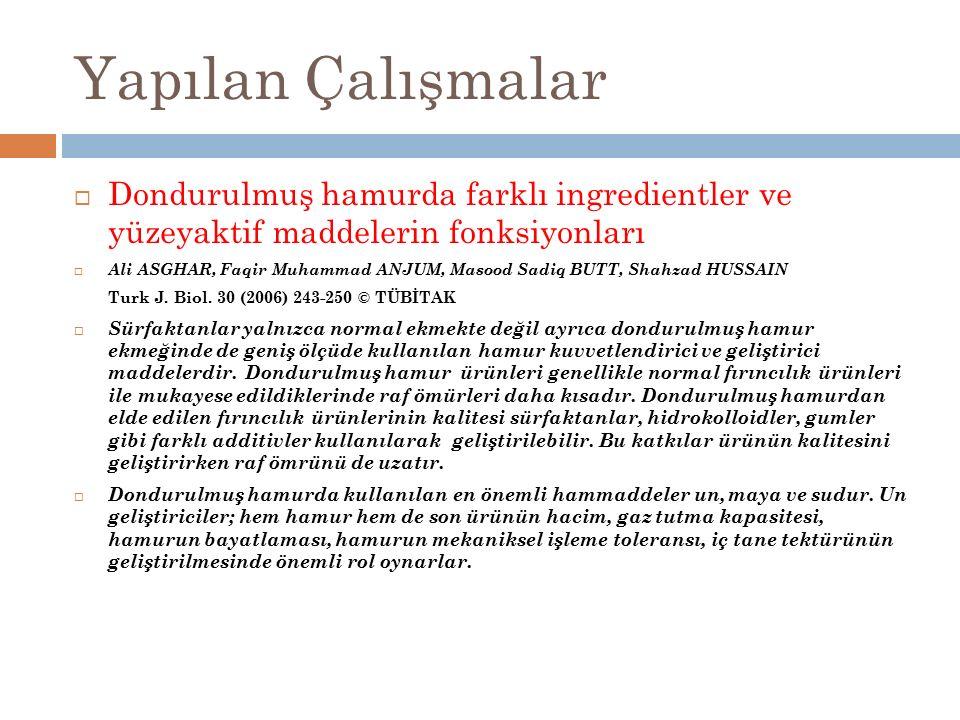 Yapılan Çalışmalar Dondurulmuş hamurda farklı ingredientler ve yüzeyaktif maddelerin fonksiyonları.