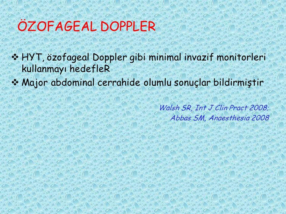 ÖZOFAGEAL DOPPLER HYT, özofageal Doppler gibi minimal invazif monitorleri kullanmayı hedefleR.