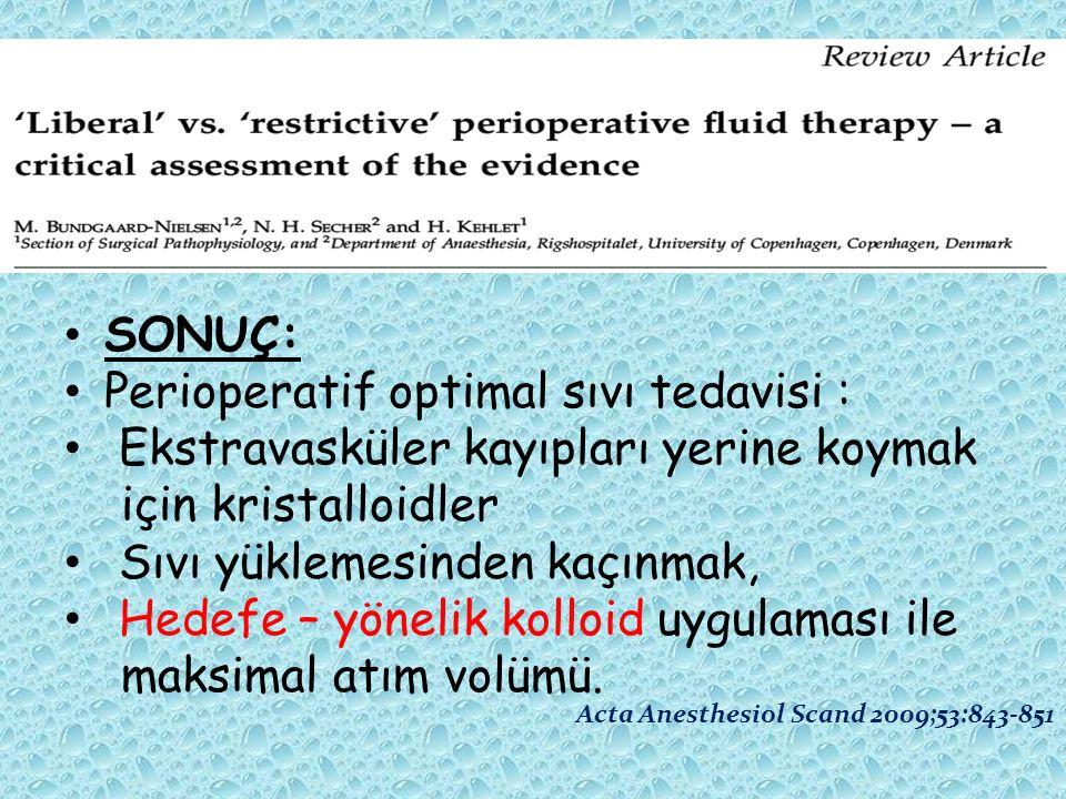 Perioperatif optimal sıvı tedavisi :