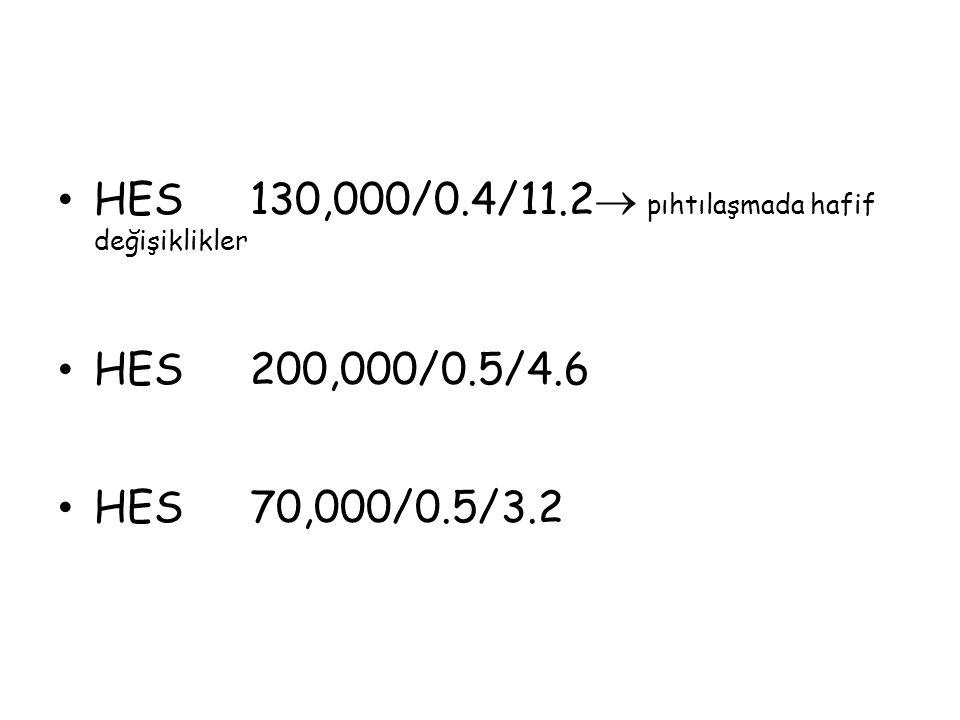 HES 130,000/0.4/11.2 pıhtılaşmada hafif değişiklikler