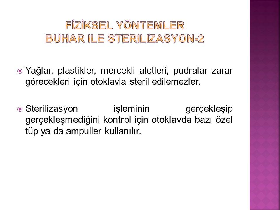 FİZİKSEL YÖNTEMLER Buhar ile sterilizasyon-2