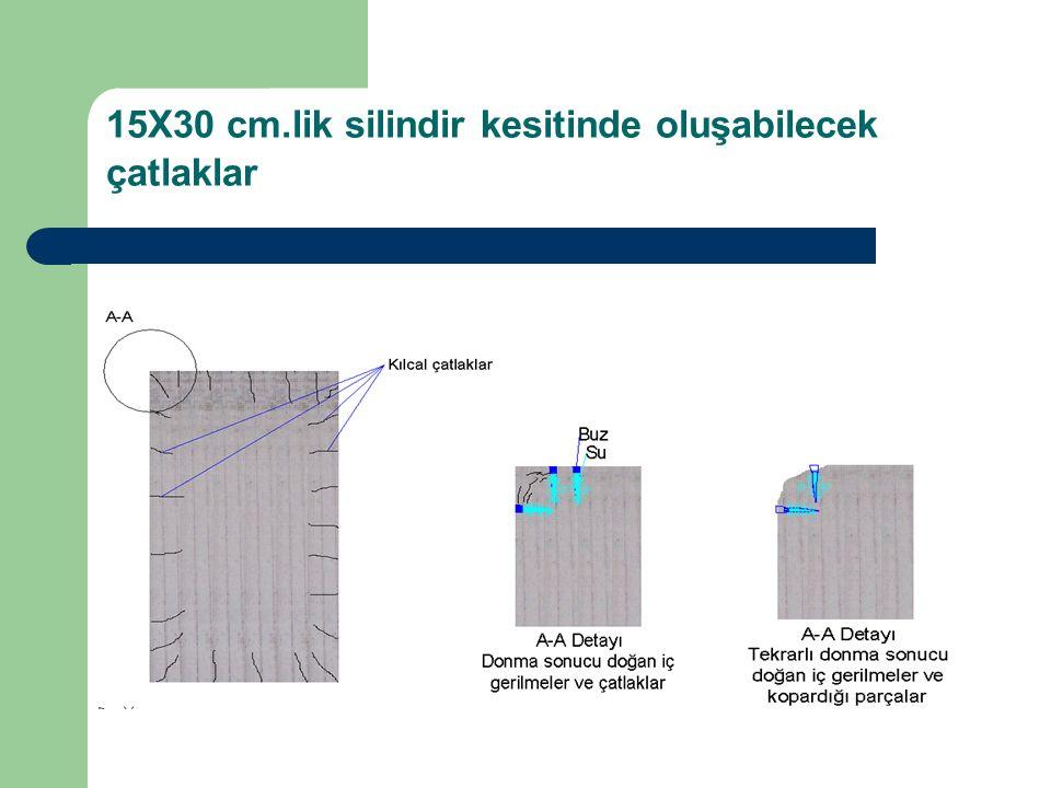 15X30 cm.lik silindir kesitinde oluşabilecek çatlaklar