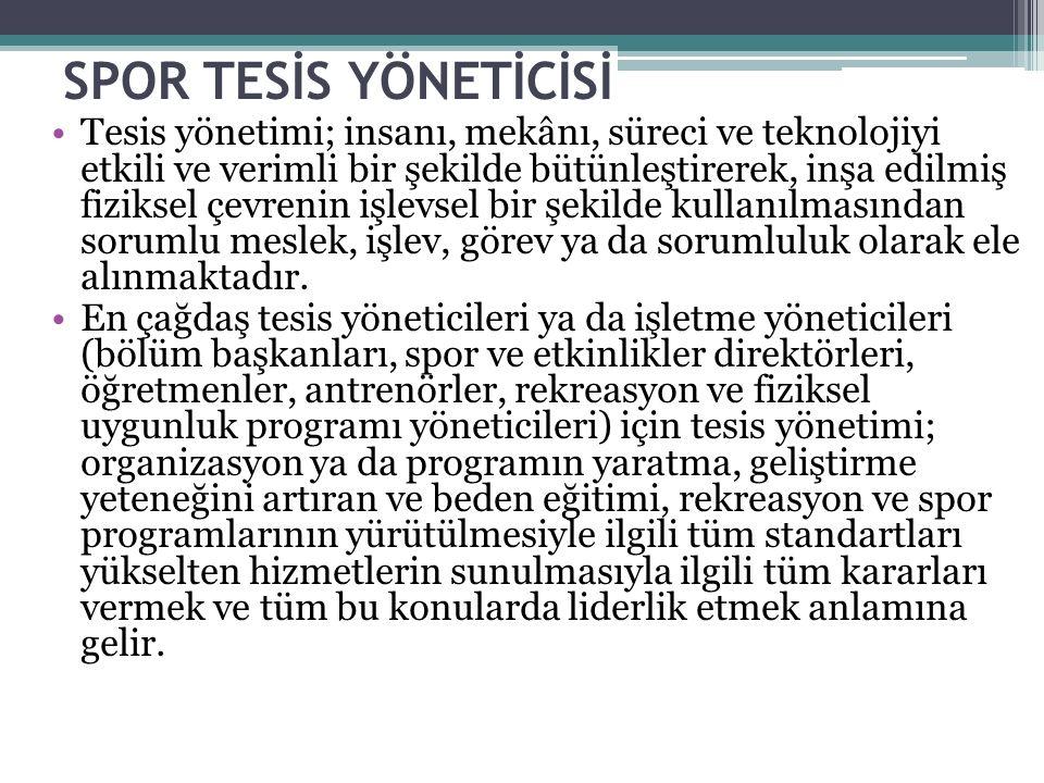 SPOR TESİS YÖNETİCİSİ