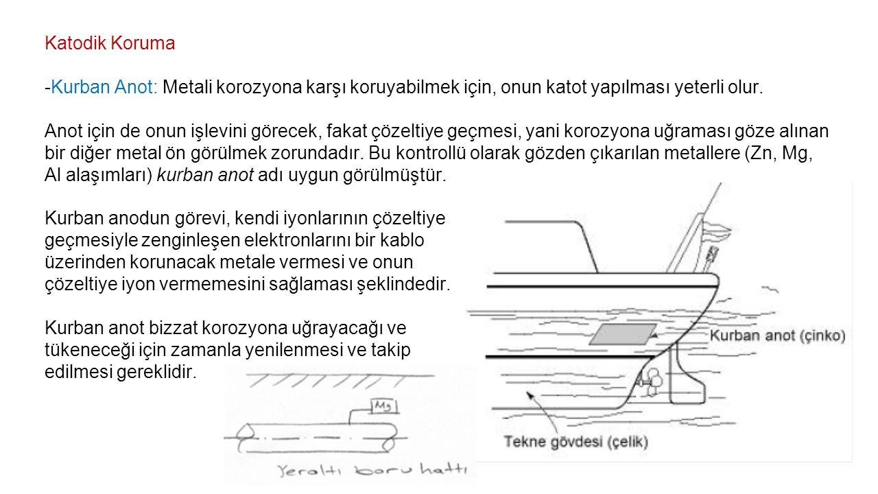 Katodik Koruma -Kurban Anot: Metali korozyona karşı koruyabilmek için, onun katot yapılması yeterli olur.