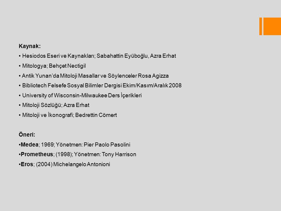 Kaynak: Hesiodos Eseri ve Kaynakları; Sabahattin Eyüboğlu, Azra Erhat. Mitologya; Behçet Nectigil.