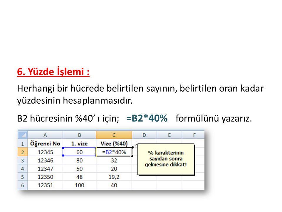 Formüller 6. Yüzde İşlemi :