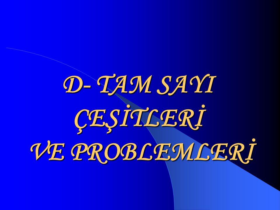 D- TAM SAYI ÇEŞİTLERİ VE PROBLEMLERİ