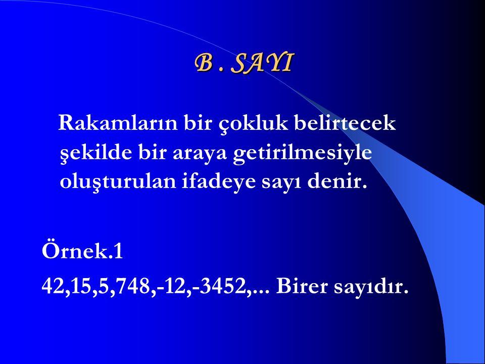B . SAYI Örnek.1 42,15,5,748,-12,-3452,... Birer sayıdır.