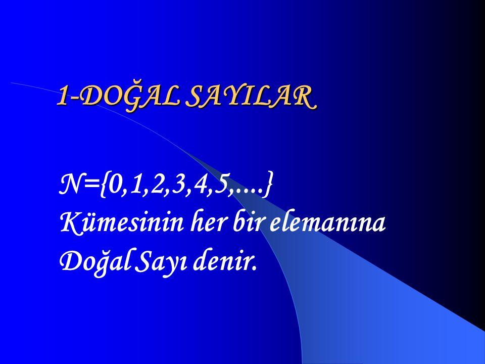 N={0,1,2,3,4,5,....} Kümesinin her bir elemanına Doğal Sayı denir.