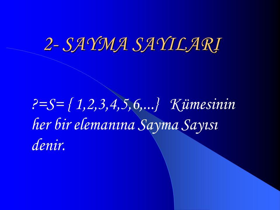 2- SAYMA SAYILARI =S= { 1,2,3,4,5,6,...} Kümesinin her bir elemanına Sayma Sayısı denir.
