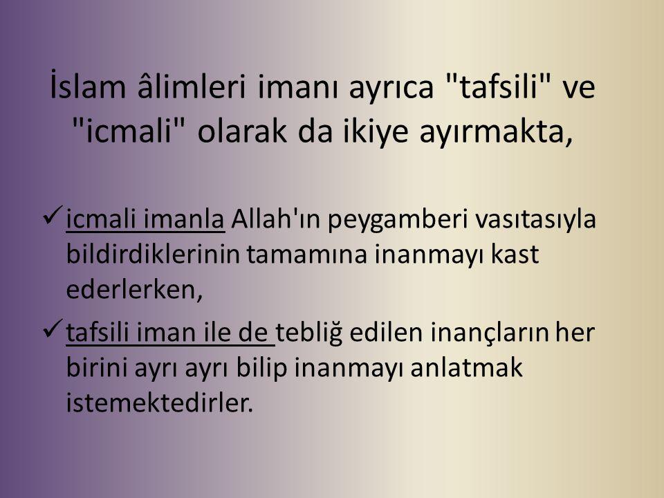 İslam âlimleri imanı ayrıca tafsili ve icmali olarak da ikiye ayırmakta,