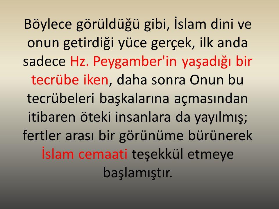 Böylece görüldüğü gibi, İslam dini ve onun getirdiği yüce gerçek, ilk anda sadece Hz.