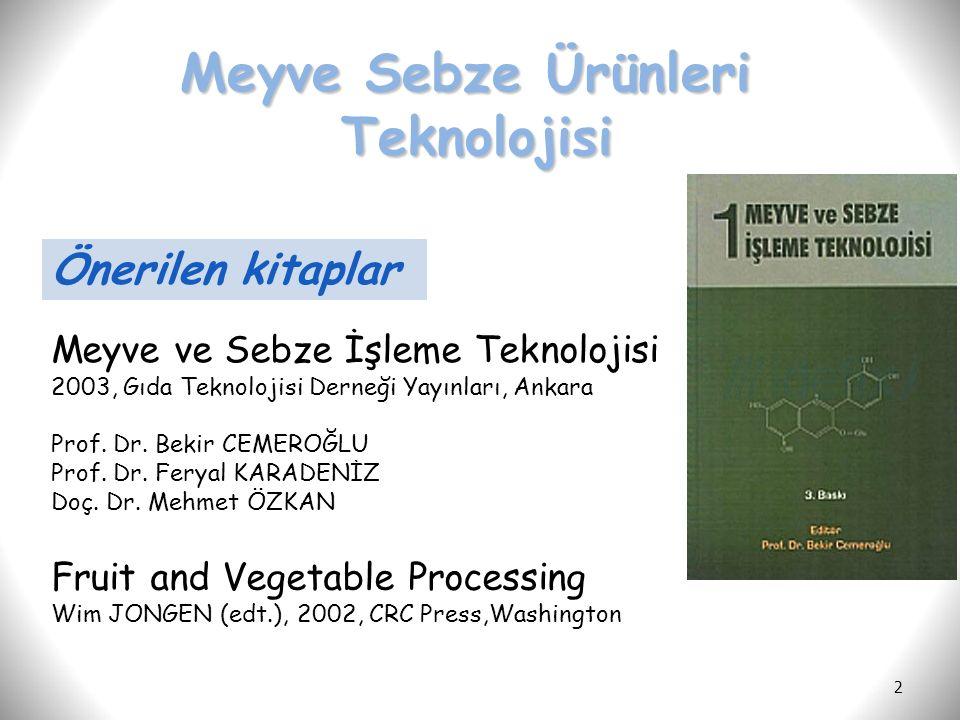 Meyve Sebze Ürünleri Teknolojisi