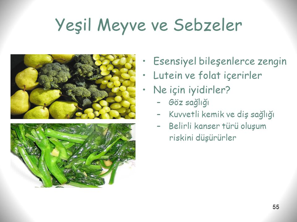 Yeşil Meyve ve Sebzeler