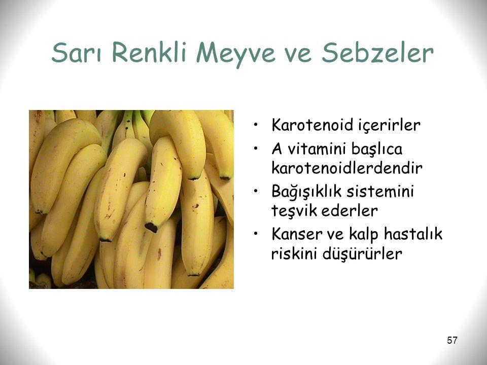Sarı Renkli Meyve ve Sebzeler