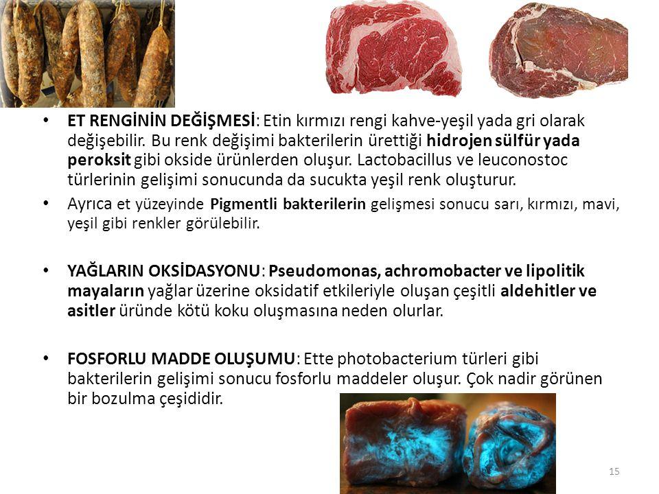 ET RENGİNİN DEĞİŞMESİ: Etin kırmızı rengi kahve-yeşil yada gri olarak değişebilir. Bu renk değişimi bakterilerin ürettiği hidrojen sülfür yada peroksit gibi okside ürünlerden oluşur. Lactobacillus ve leuconostoc türlerinin gelişimi sonucunda da sucukta yeşil renk oluşturur.