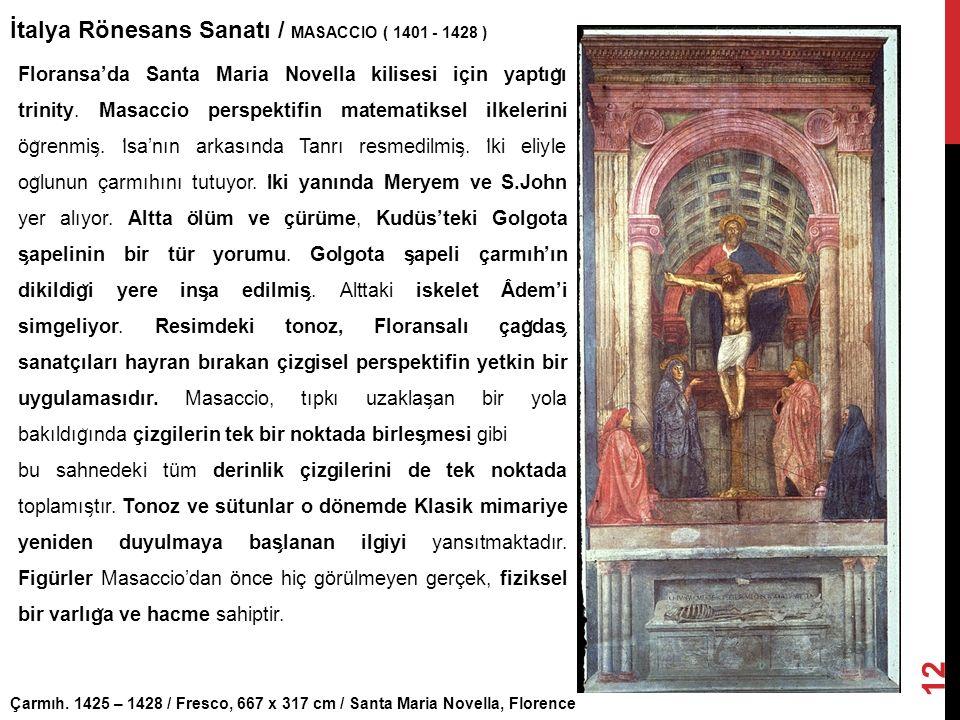 İtalya Rönesans Sanatı / MASACCIO ( 1401 - 1428 )