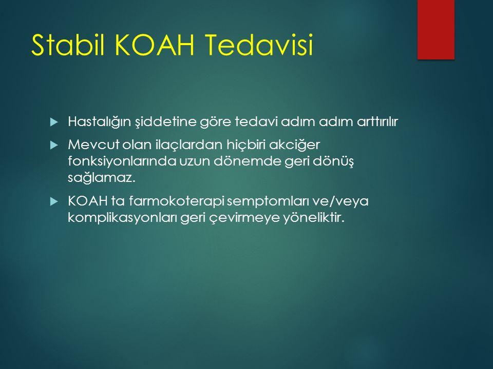 Stabil KOAH Tedavisi Hastalığın şiddetine göre tedavi adım adım arttırılır.