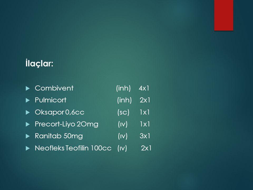 İlaçlar: Combivent (inh) 4x1 Pulmicort (inh) 2x1