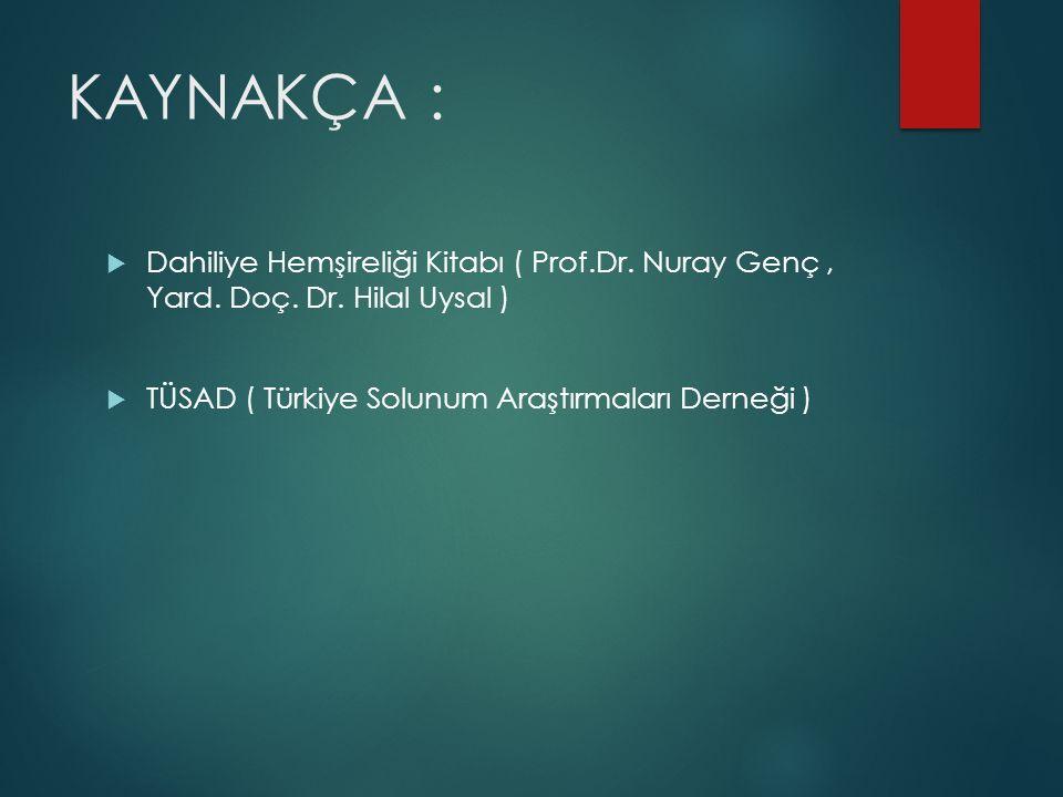 KAYNAKÇA : Dahiliye Hemşireliği Kitabı ( Prof.Dr. Nuray Genç , Yard.