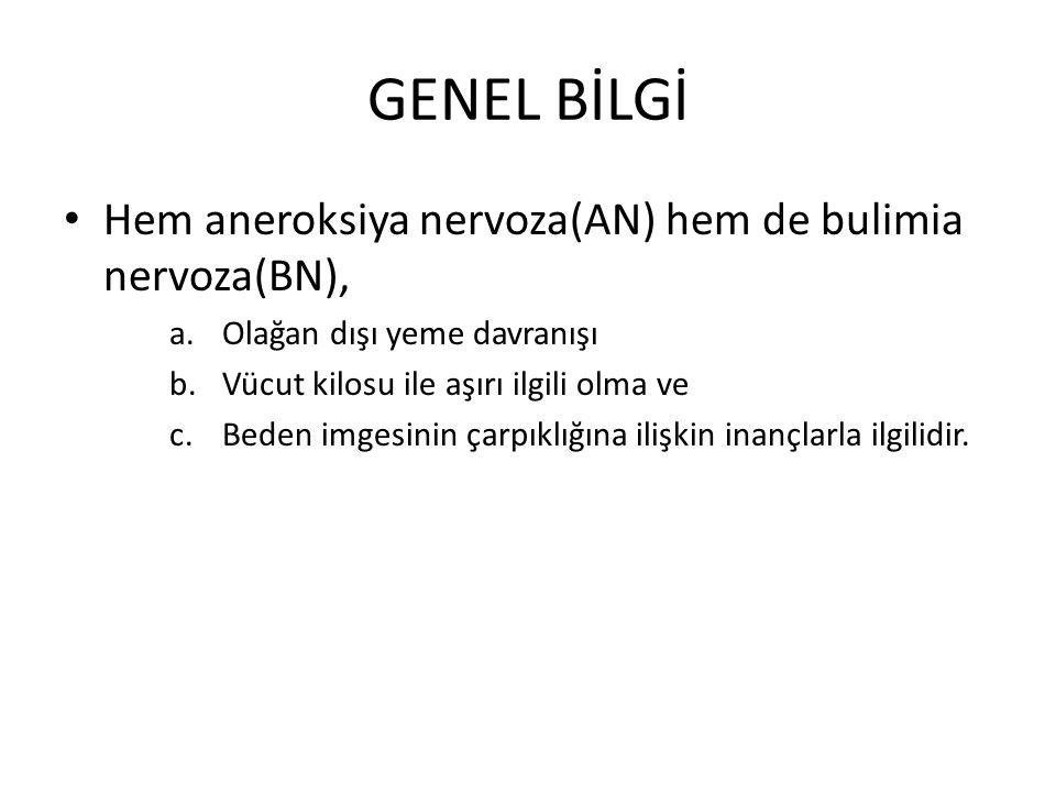 GENEL BİLGİ Hem aneroksiya nervoza(AN) hem de bulimia nervoza(BN),