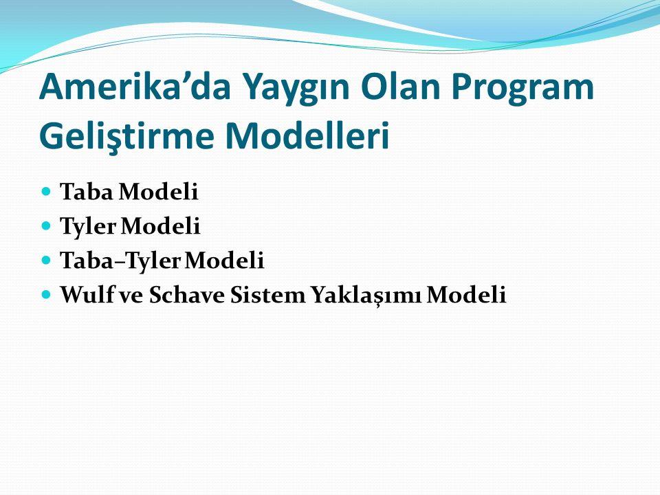 Amerika'da Yaygın Olan Program Geliştirme Modelleri