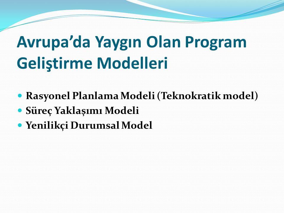 Avrupa'da Yaygın Olan Program Geliştirme Modelleri