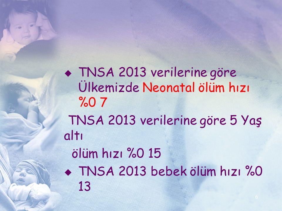 TNSA 2013 verilerine göre Ülkemizde Neonatal ölüm hızı %0 7