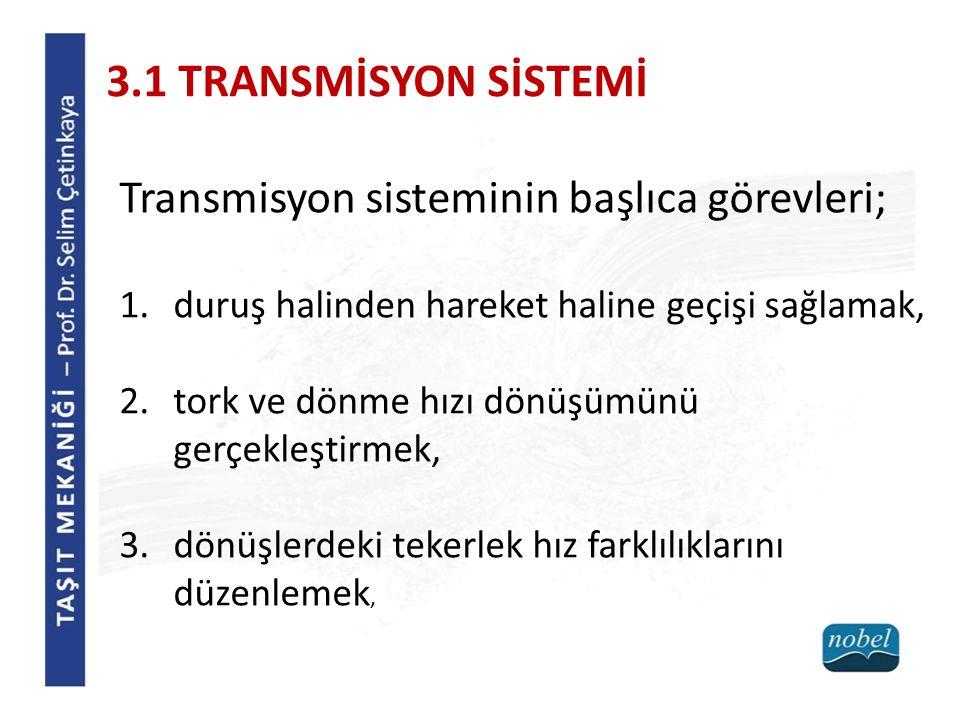 3.1 TRANSMİSYON SİSTEMİ Transmisyon sisteminin başlıca görevleri;