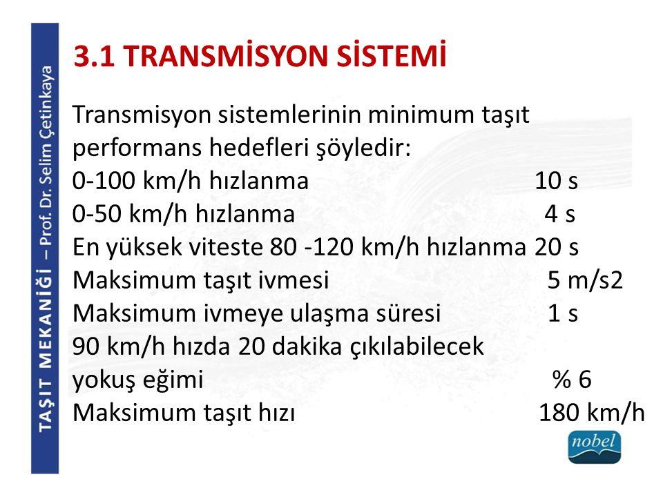 3.1 TRANSMİSYON SİSTEMİ Transmisyon sistemlerinin minimum taşıt performans hedefleri şöyledir: