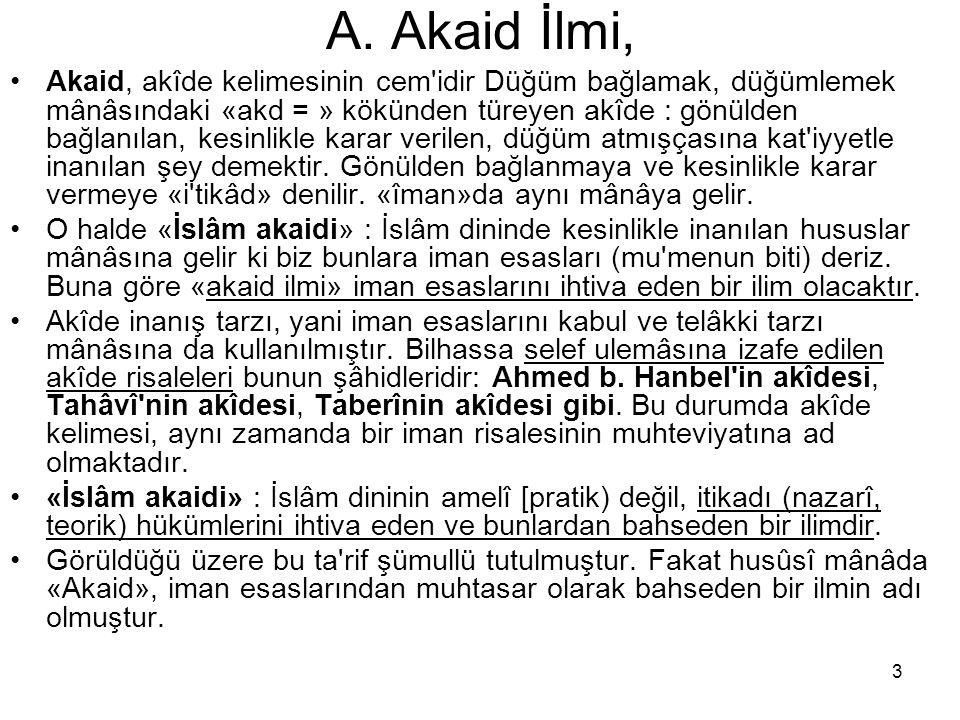 A. Akaid İlmi,
