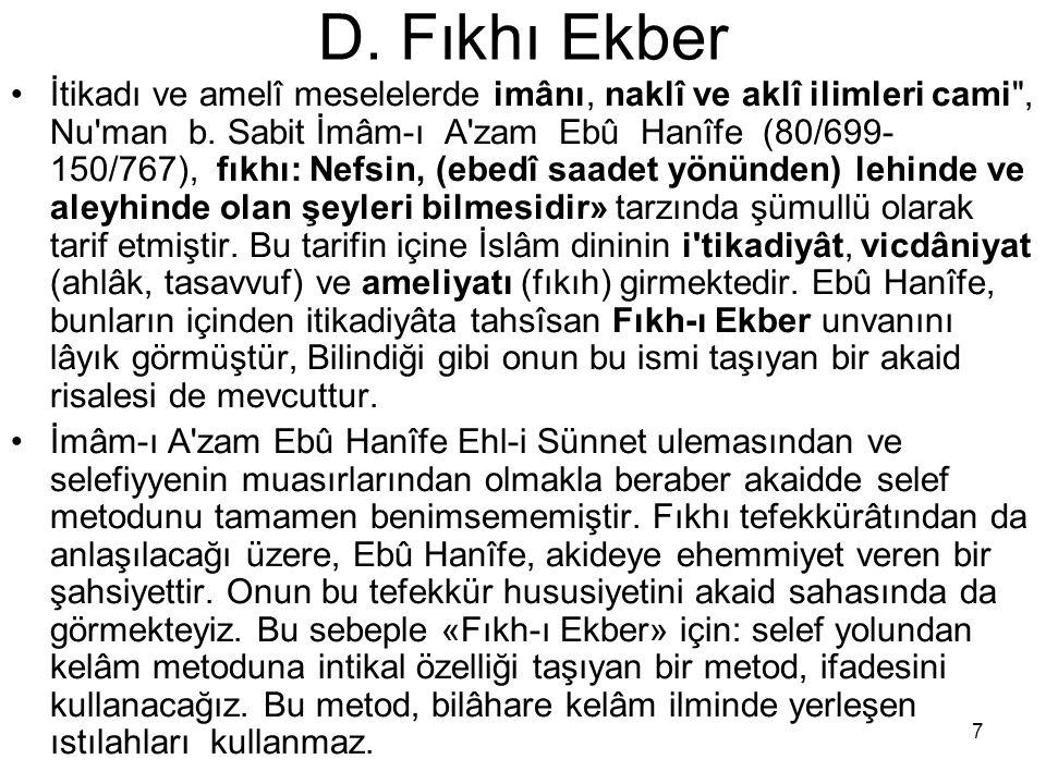 D. Fıkhı Ekber