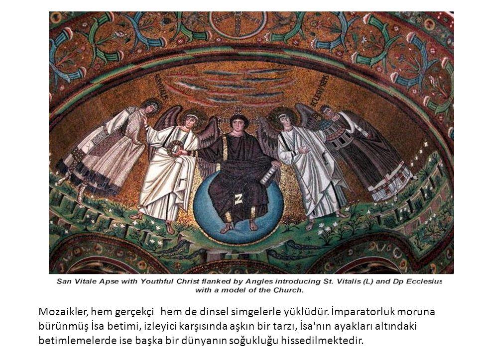 Mozaikler, hem gerçekçi hem de dinsel simgelerle yüklüdür