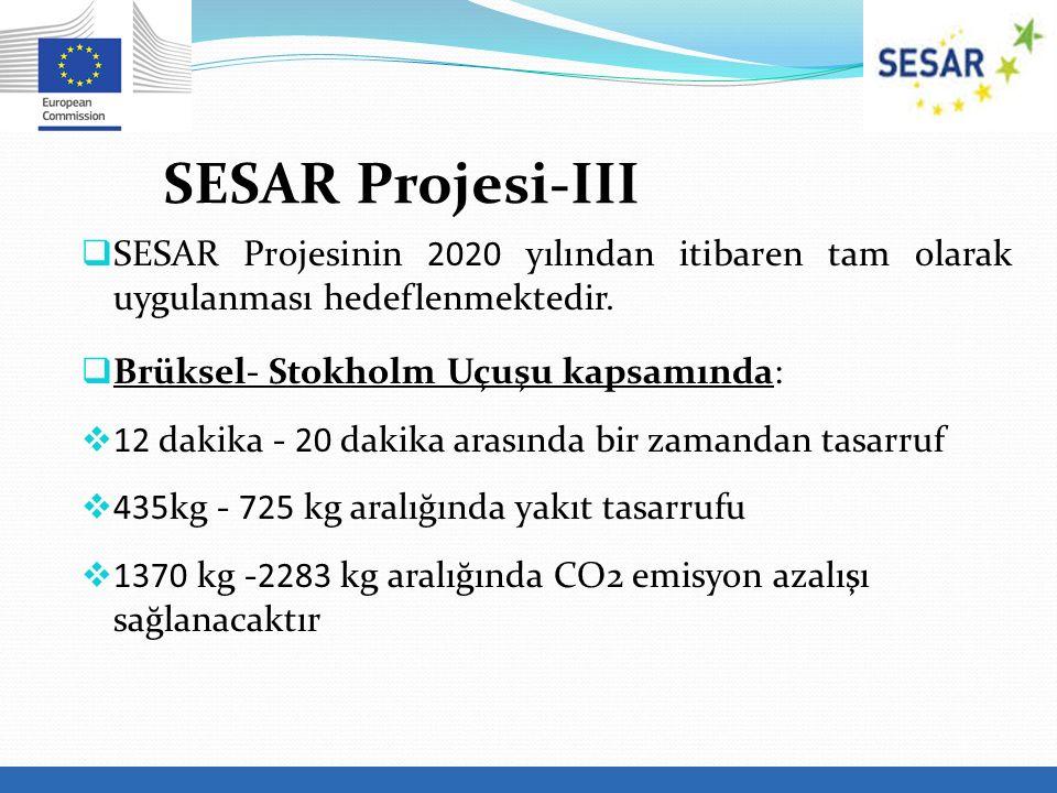 SESAR Projesi-III SESAR Projesinin 2020 yılından itibaren tam olarak uygulanması hedeflenmektedir.