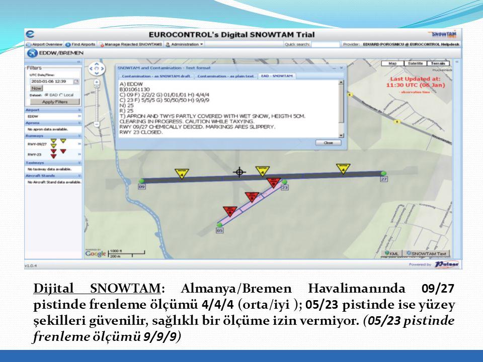 Dijital SNOWTAM: Almanya/Bremen Havalimanında 09/27 pistinde frenleme ölçümü 4/4/4 (orta/iyi ); 05/23 pistinde ise yüzey şekilleri güvenilir, sağlıklı bir ölçüme izin vermiyor.