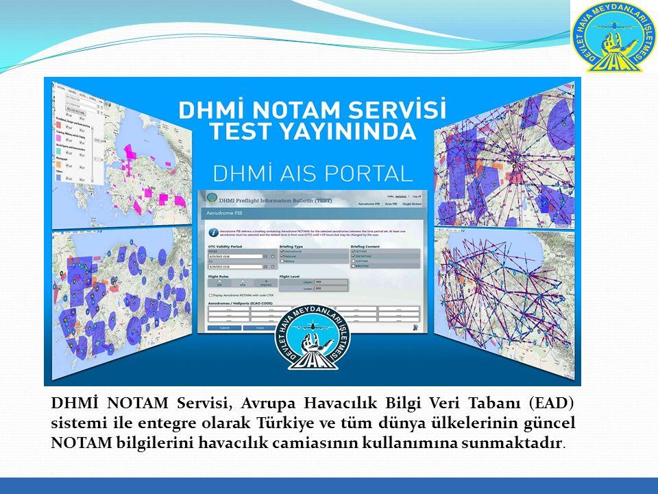 DHMİ NOTAM Servisi, Avrupa Havacılık Bilgi Veri Tabanı (EAD) sistemi ile entegre olarak Türkiye ve tüm dünya ülkelerinin güncel NOTAM bilgilerini havacılık camiasının kullanımına sunmaktadır.