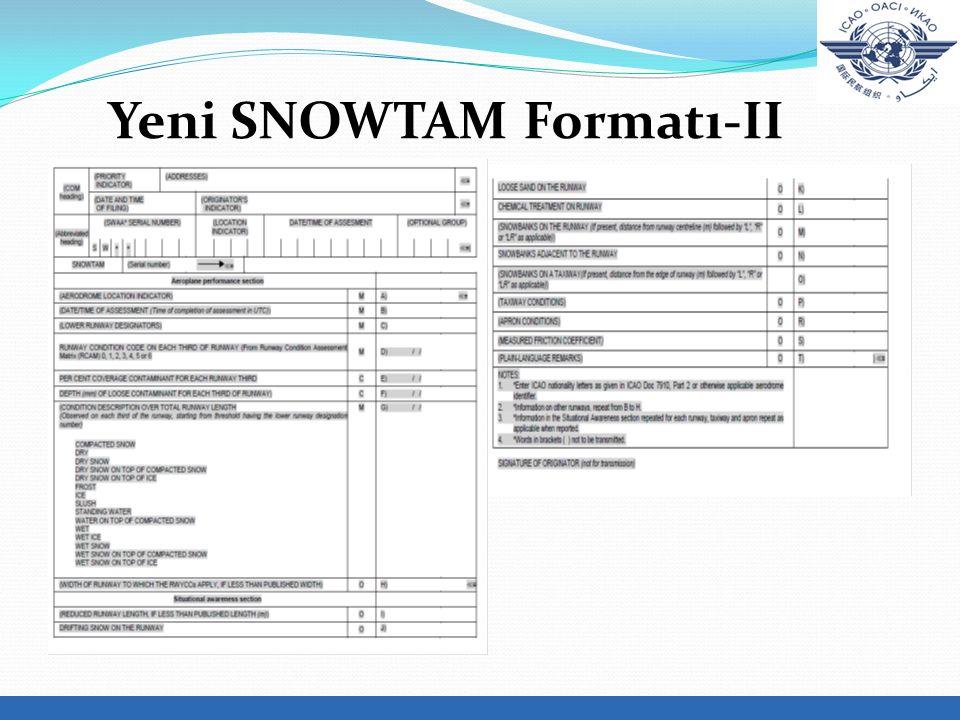 Yeni SNOWTAM Formatı-II