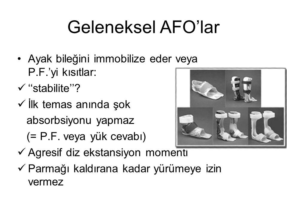 Geleneksel AFO'lar Ayak bileğini immobilize eder veya P.F.'yi kısıtlar: ''stabilite'' İlk temas anında şok.